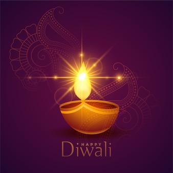 Traditioneller glücklicher diwali-hintergrund mit glühendem diya