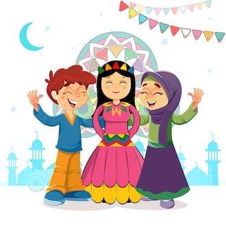 Traditioneller islamischer gruß von zwei kindern und mawlid-braut, die feiertag des propheten muhammad bithday feiert
