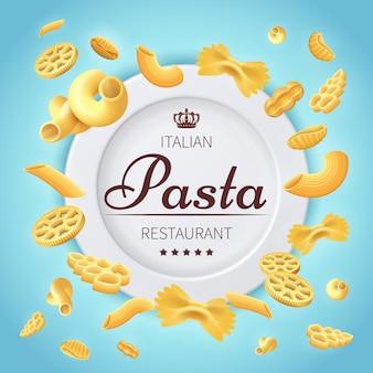 Traditioneller küchenlebensmittelhintergrund des italienischen restaurants der teigwaren. italienisches fahnenmenü des teigwarenlebensmittels und -restaurants