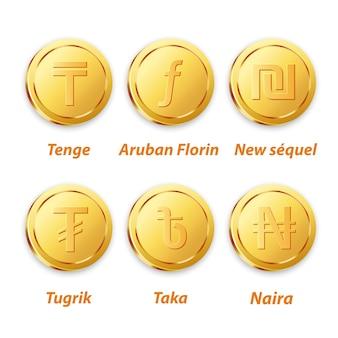 Traditioneller münzen-goldvektor