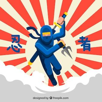 Traditioneller ninja-kriegershintergrund mit flachem design