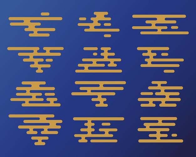 Traditioneller orientalischer wolkensatz. vector minimalistische sammlung im chinesischen, japanischen stil.