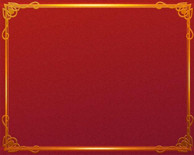 Traditioneller roter hintergrund mit glänzendem goldenem rahmen