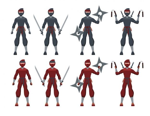 Traditioneller schwarz-roter anzug ninja