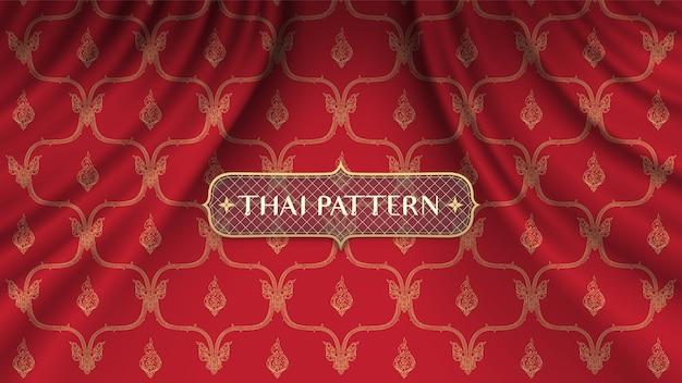 Traditioneller thailändischer hintergrund auf realistischem rotem kurvenvorhang