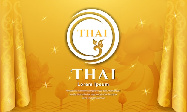 Traditioneller thailändischer hintergrund, das konzept der künste von thailand, vektorillustration.