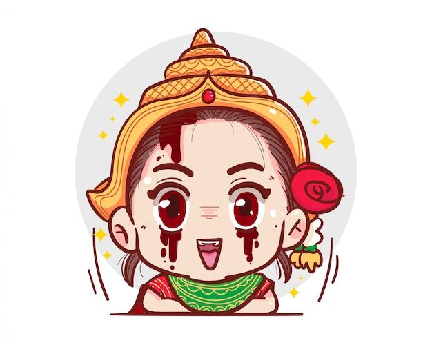 Traditioneller thailändischer kleidgeist, der auf weißem hintergrund mit gruseligem halloween-konzept schaut und lächelt.