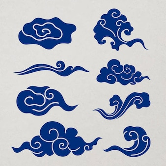 Traditioneller wolkenaufkleber, blaues chinesisches design-clipart-vektorset