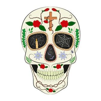 Traditioneller zuckerschädel. gestaltungselement für den tag der toten