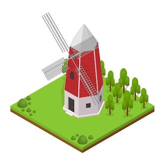 Traditionelles altes windmühlengebäude mit landschafts- und pflanzenisometrieansicht