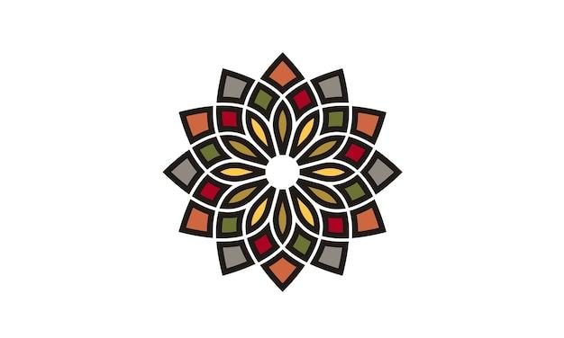 Traditionelles asiatisches buntes blumenmuster-logo design