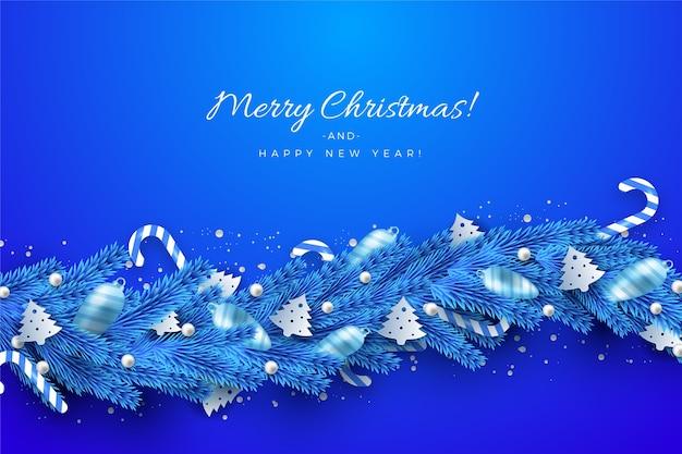 Traditionelles blaues lametta für weihnachtsbaumhintergrund