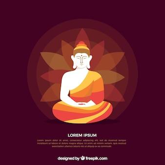 Traditionelles Budha mit flachem Design