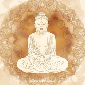 Traditionelles budha mit hand gezeichneter art