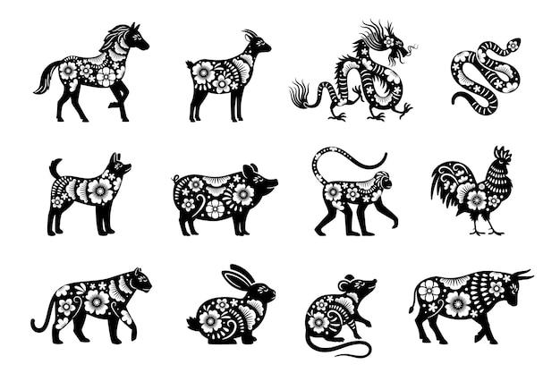 Traditionelles chinesisches horoskop mit blumen. chinesische neujahrstiere setzen, tiger und schlange, drachen und schwein vektor maskottchen zeichnungen