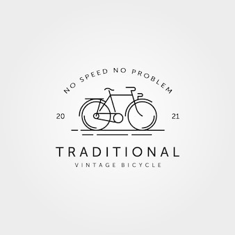 Traditionelles fahrrad fahrrad linie kunst logo vintage