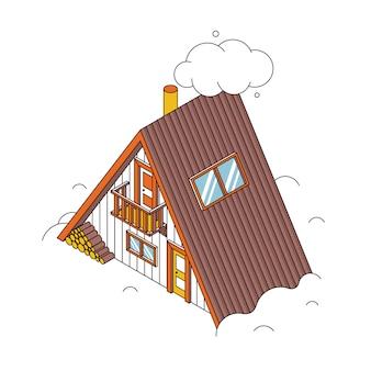 Traditionelles ferienhaus im winter. isometrisches gebäude mit schneeverwehungen. winterhaus umrissillustration. schneebedecktes landhaus oder holzhütte.