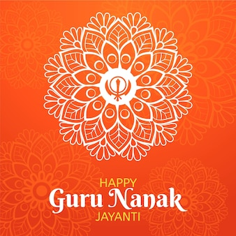 Traditionelles flaches design guru nanak jayanti blumen