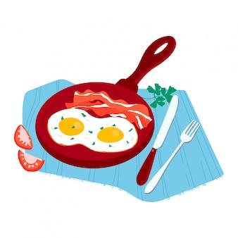 Traditionelles frühstücksnahrungsmittel des morgens, mahlzeit tomate, kraut und bratpfanneier speckkonzeptnahrung lokalisiert auf weißer karikaturillustration.