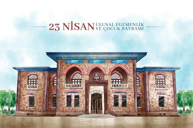 Traditionelles gebäude der nationalen souveränität in der türkei