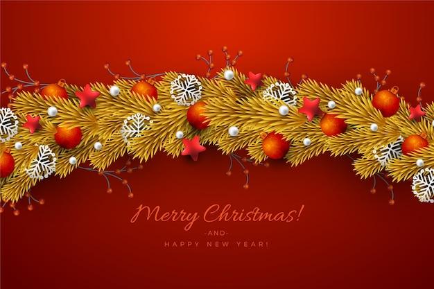 Traditionelles goldenes lametta für weihnachtsbaumhintergrund