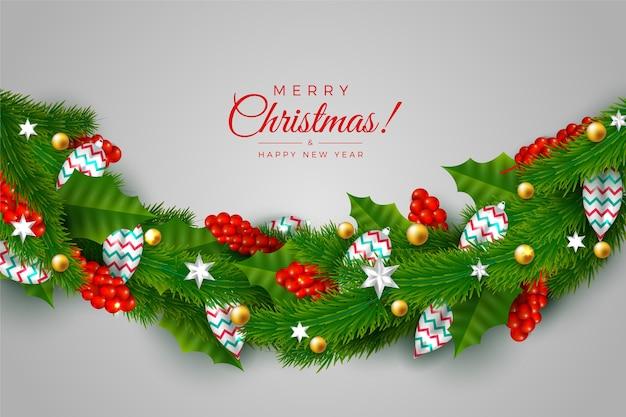 Traditionelles grünes lametta für weihnachtsbaumhintergrund