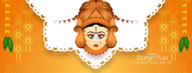 Traditionelles hinduistisches festival happy durga puja und navratri stilvoller bannervektor