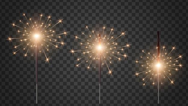 Traditionelles holiday bengal light.light-effekt - helles funkeln. bengalische kerzen in verschiedenen verbrennungsstadien.