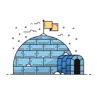 Traditionelles iglu im winter. bauen mit schneeverwehungen und eiszapfen. winterhausillustration im umrissentwurf.