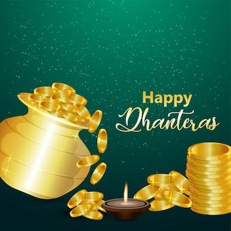 Traditionelles indisches festival glückliche dhanteras-feier-grußkarte