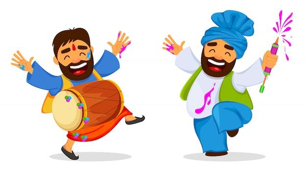 Traditionelles indisches festival holi. lustige tanzende männer.