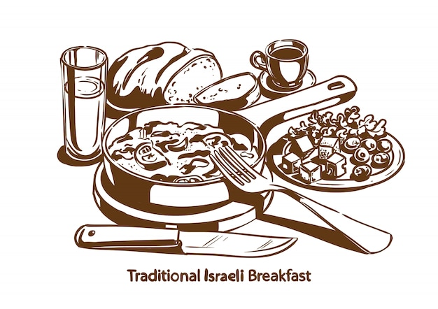 Traditionelles israelisches frühstück