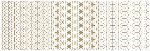 Traditionelles japanisches geometrisches muster der nahtlosen holzarbeit. braune durchschnittliche und dünne linien.