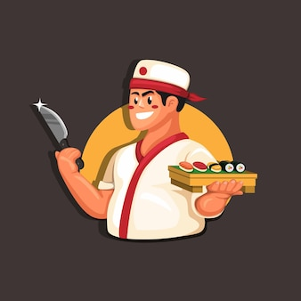 Traditionelles japanisches lebensmittelrestaurant-maskottchenkonzept des chefkochsushi in der karikaturillustration