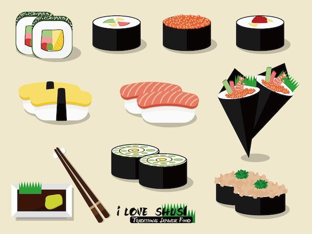 Traditionelles japanisches sushi-essen, bestehend aus gekochtem essigreis kombiniert mit anderen zutaten.