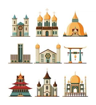 Traditionelles kirchenset. christlich-evangelistische und lutherische religionsgebäude, muslimisch-islamische moschee und orthodoxe kathedrale, buddhistische pagode und synagogenbilder