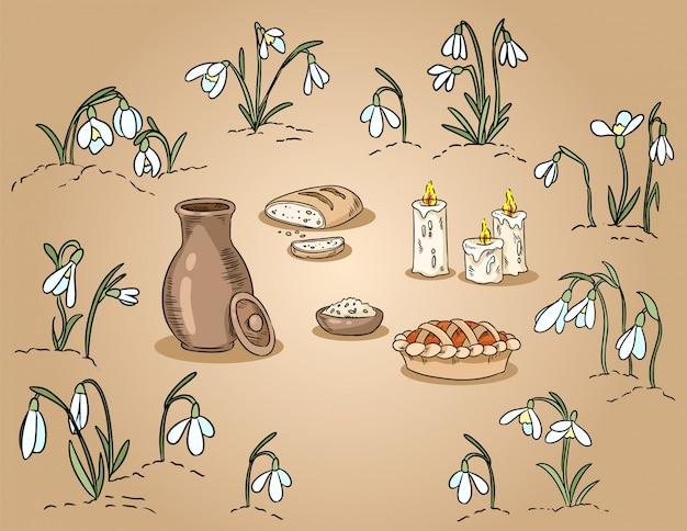 Traditionelles lebensmittel des frühlinges unter der gezeichneten bunten illustration der schneeglöckchen hand