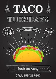 Traditionelles mexikanisches fastfood-taco-dienstag-plakat