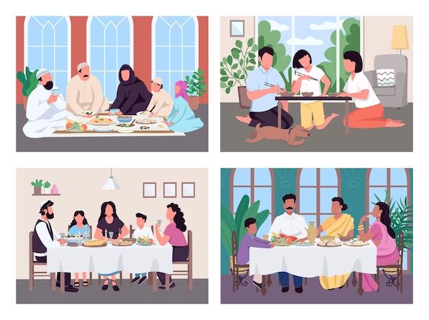 Traditionelles mittagessen für familien mit flachem farbset. muslimische eltern und kinder essen. asiatische kultur. multiethnische 2d-zeichentrickfiguren mit innenraum auf hintergrundsammlung