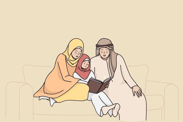 Traditionelles muslimisches familienlebensstilkonzept Premium Vektoren