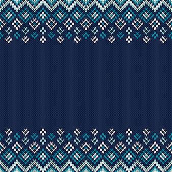 Traditionelles nahtloses strickmuster im fair isle-stil. weihnachten und neujahr design hintergrund mit einem platz für text