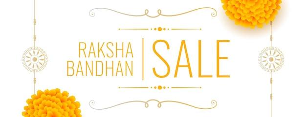 Traditionelles raksha-bandhan-banner im indischen stil mit ringelblumen- und rakhi-design