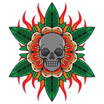 Traditionelles tattoo mit totenkopf und blumen