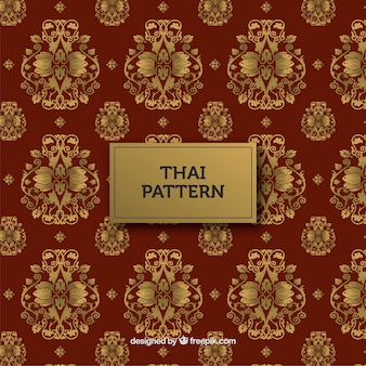 Traditionelles thailändisches muster mit goldener art