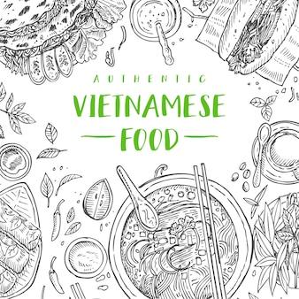 Traditionelles vietnamesisches essen der hand gezeichneten draufsicht, illustration