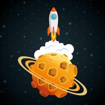 Trägerrakete mit planeten