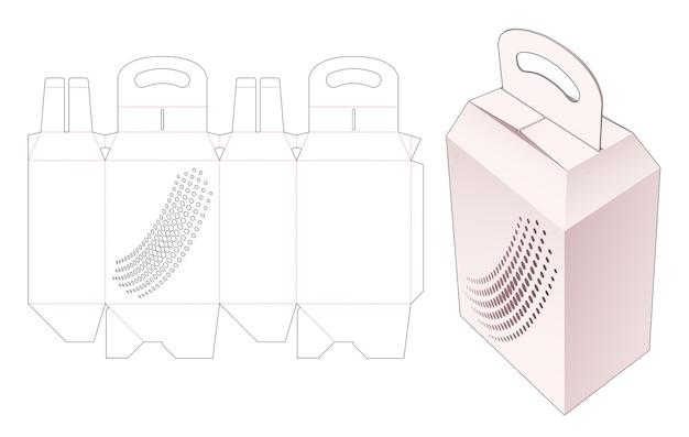 Trägerverpackungsbox mit gestanzter schablone mit rasterpunkten
