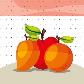 Trägt frischen organischen gesunden orange mangoapfel früchte