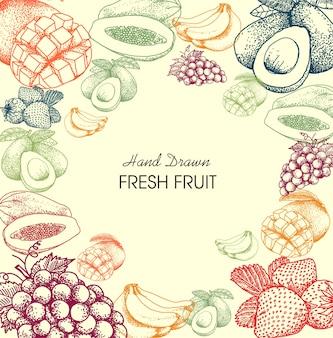 Trägt gezeichnete art des hintergrundes hand früchte