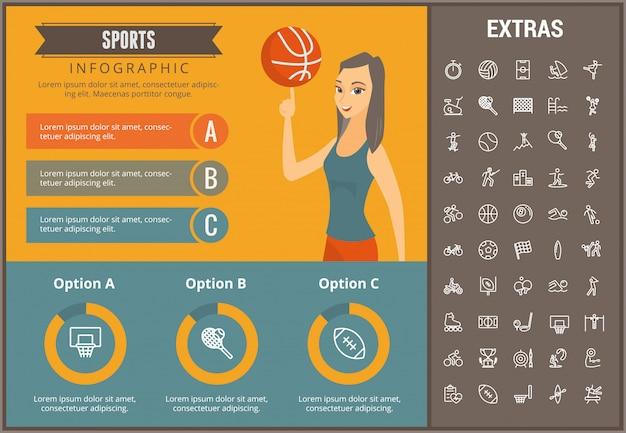 Trägt infographic schablone, elemente und ikonen zur schau